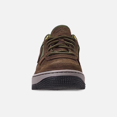 Front view of Boys' Big Kids' Nike Air Force 1 Premier Casual Shoes in Baroque Brown/Medium Olive/Army Olive/Medium Olive