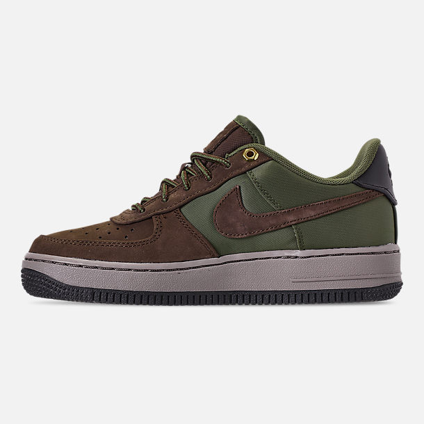 Left view of Boys' Big Kids' Nike Air Force 1 Premier Casual Shoes in Baroque Brown/Medium Olive/Army Olive/Medium Olive
