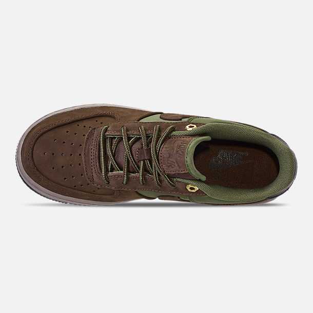 Top view of Boys' Big Kids' Nike Air Force 1 Premier Casual Shoes in Baroque Brown/Medium Olive/Army Olive/Medium Olive