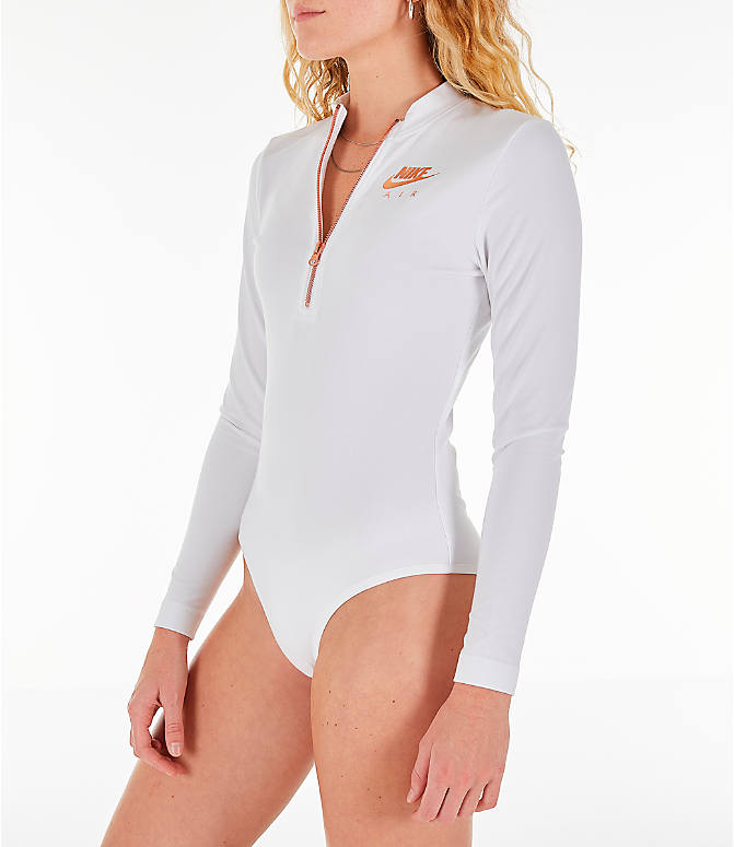 88ad6cbaec Front Three Quarter view of Women s Nike Air Long-Sleeve Bodysuit in  White Rose