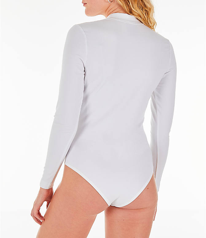 9073435bc8 Back Left view of Women s Nike Air Long-Sleeve Bodysuit in White Rose Gold
