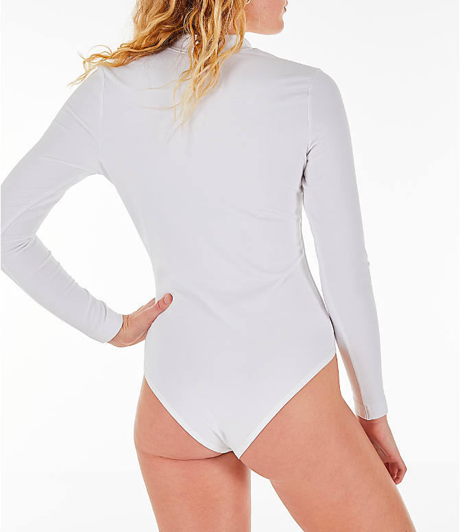 4d82980514 Back Right view of Women s Nike Air Long-Sleeve Bodysuit in White Rose Gold