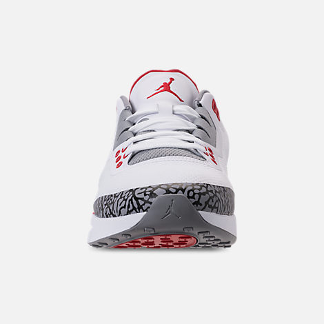 Front view of Men's Air Jordan Zoom Tenacity '88 Running Shoes in White/Fire Red/Cement Grey