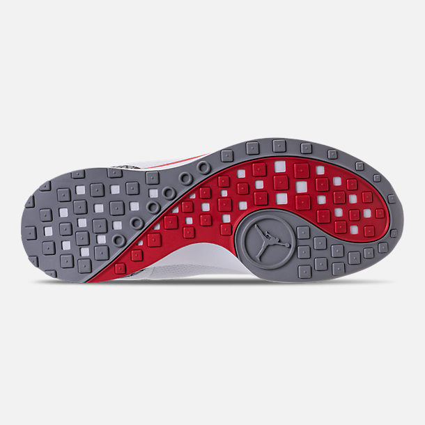 Bottom view of Men's Air Jordan Zoom Tenacity '88 Running Shoes in White/Fire Red/Cement Grey