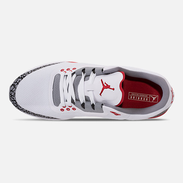 Top view of Men's Air Jordan Zoom Tenacity '88 Running Shoes in White/Fire Red/Cement Grey