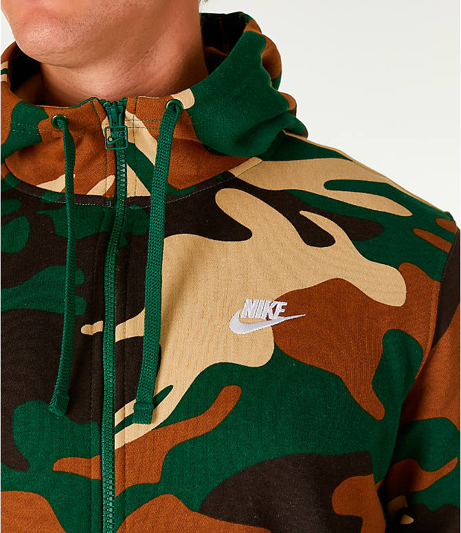 Detail 1 view of Men's Nike Sportswear Camo Full-Zip Hoodie in Green Camo