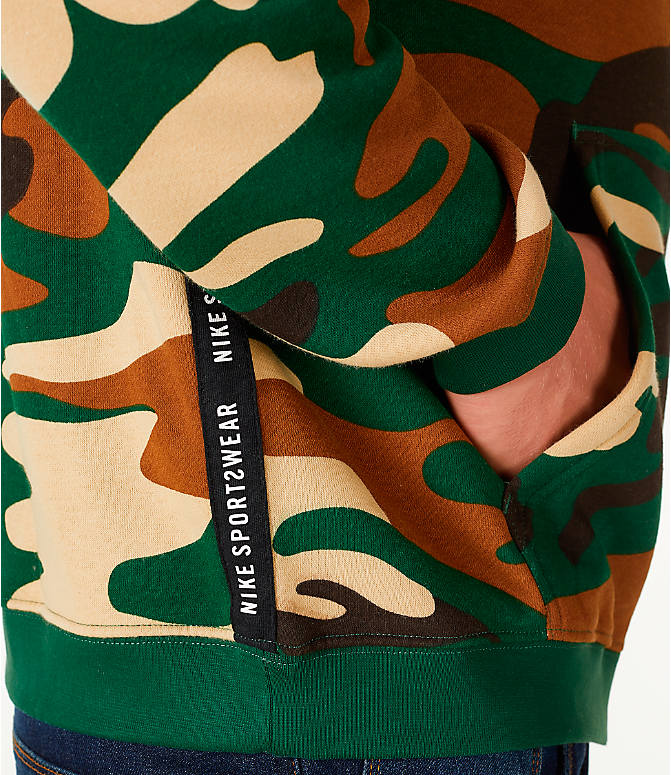 Detail 2 view of Men's Nike Sportswear Camo Full-Zip Hoodie in Green Camo