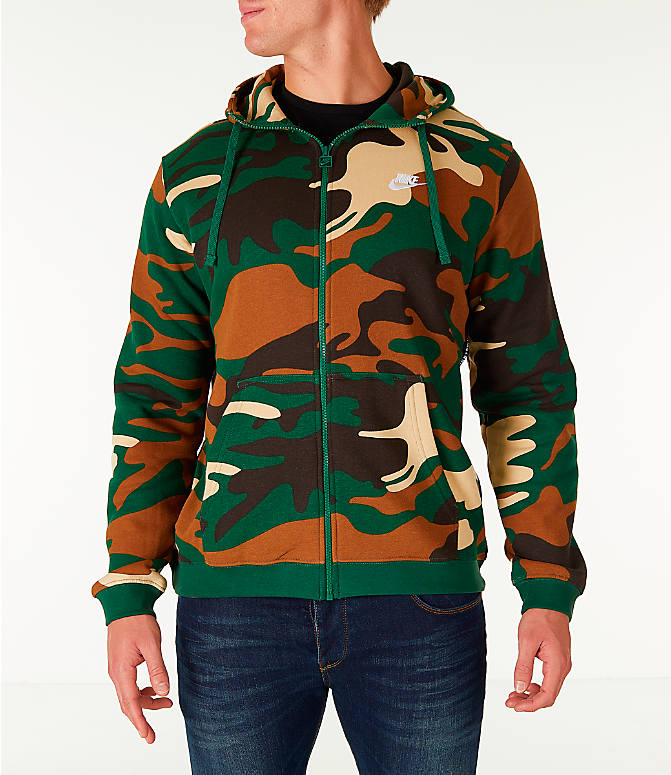 Front view of Men's Nike Sportswear Camo Full-Zip Hoodie in Green Camo