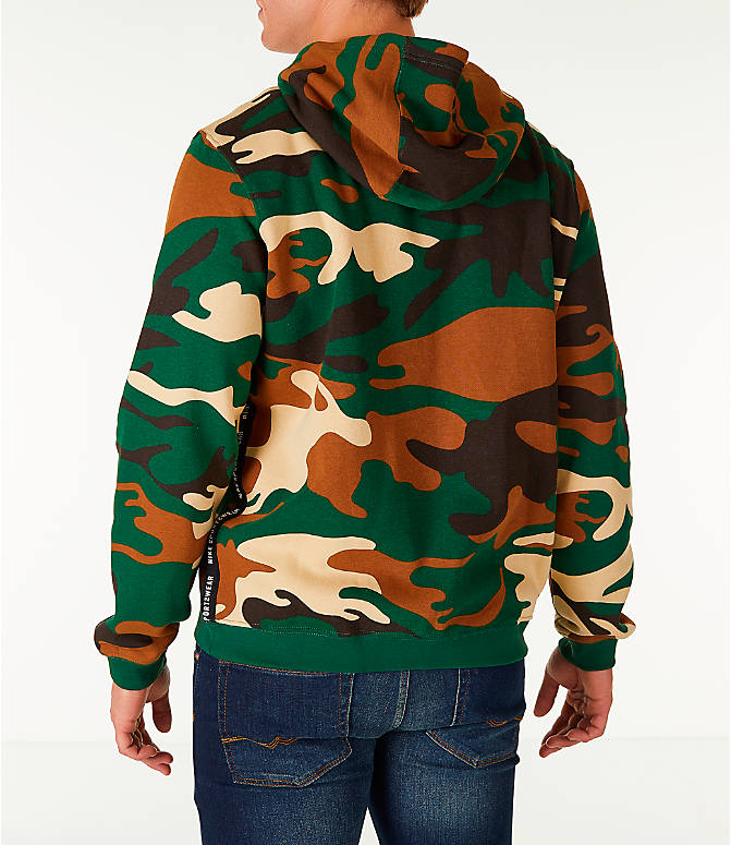 Back Left view of Men's Nike Sportswear Camo Full-Zip Hoodie in Green Camo