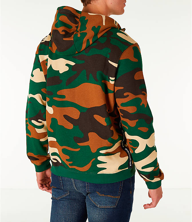 Back Right view of Men's Nike Sportswear Camo Full-Zip Hoodie in Green Camo
