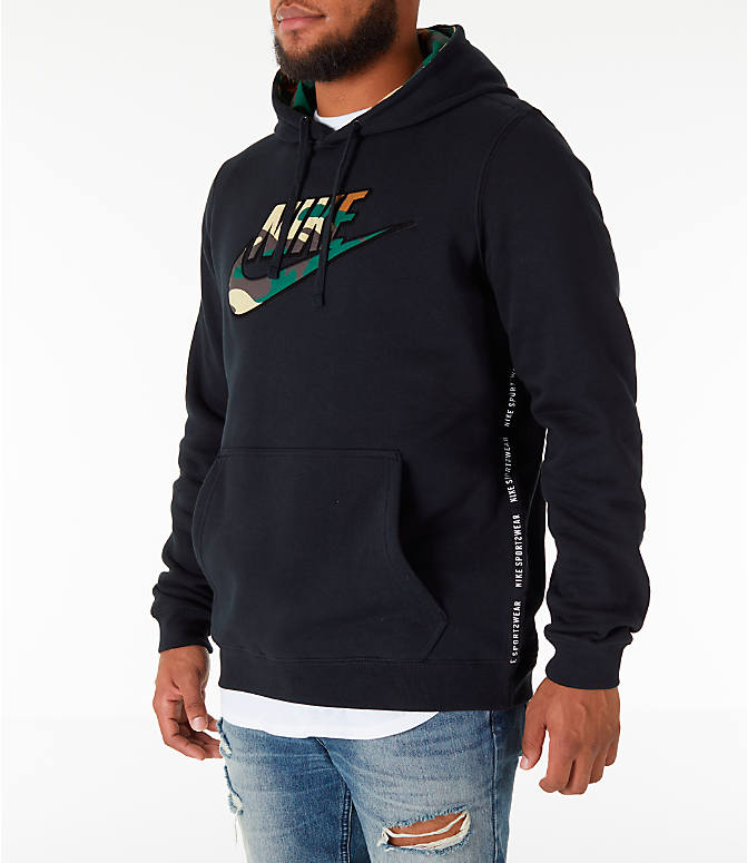 Front Three Quarter view of Men's Nike Sportswear Camo Hoodie in Black