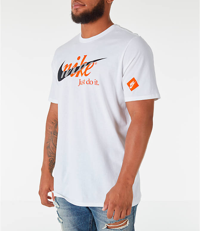 Front Three Quarter view of Men's Nike Sportswear JDI Multi T-Shirt in White