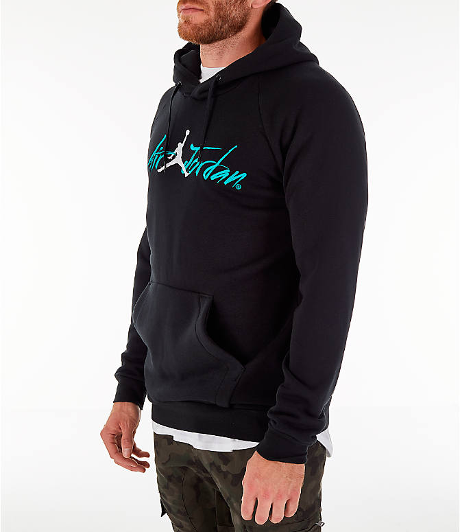 Front Three Quarter view of Men's Jordan Sportswear Jumpan Hoodie in Black