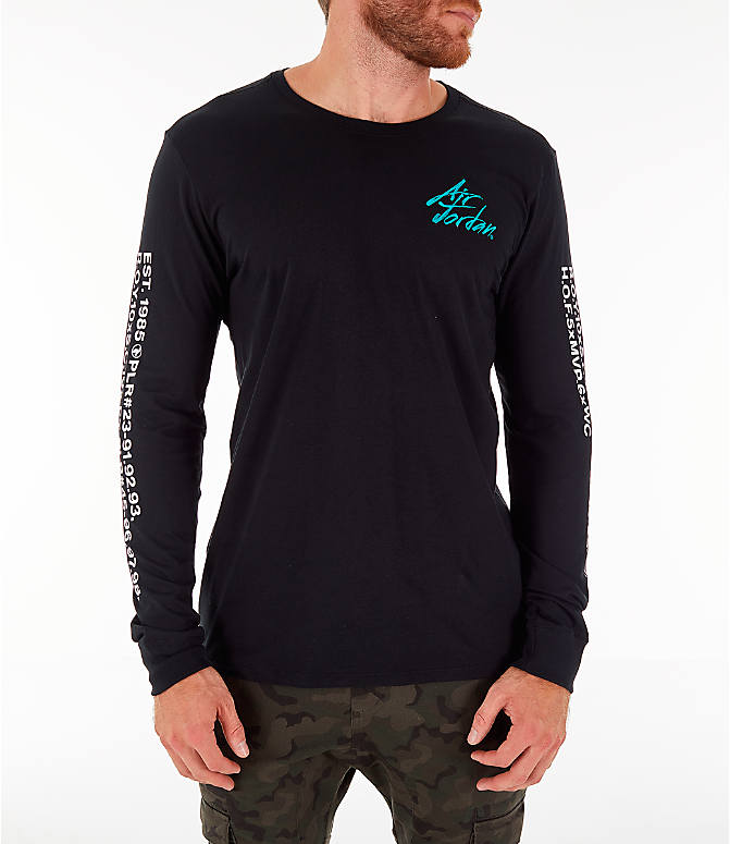Front view of Men's Jordan Sportswear Greatest Long-Sleeve T-Shirt in Black/Turbo Green