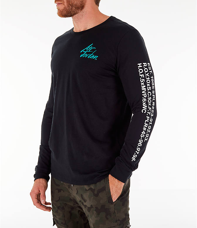 Front Three Quarter view of Men's Jordan Sportswear Greatest Long-Sleeve T-Shirt in Black/Turbo Green