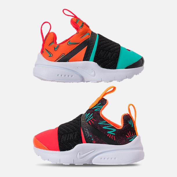 Right view of Boys' Toddler Nike Presto Extreme SE Running Shoes in Total Orange/White/Hyper Jade/Bordeaux