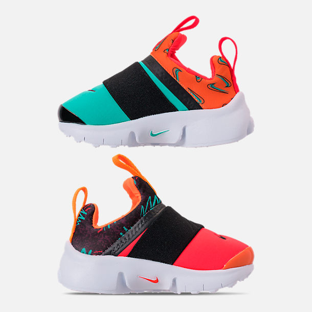 Left view of Boys' Toddler Nike Presto Extreme SE Running Shoes in Total Orange/White/Hyper Jade/Bordeaux