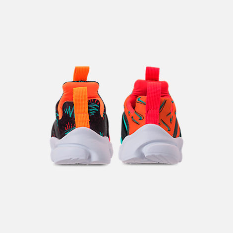 Back view of Boys' Toddler Nike Presto Extreme SE Running Shoes in Total Orange/White/Hyper Jade/Bordeaux