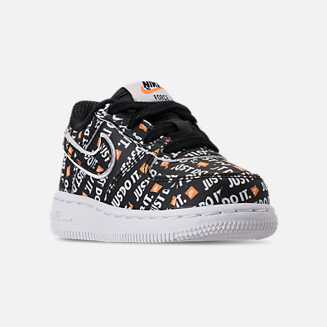 Three Quarter view of Boys' Toddler Nike Air Force 1 JDI Premium Casual Shoes in Black/Total Orange/White
