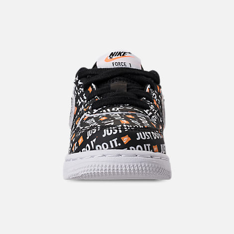 Front view of Boys' Toddler Nike Air Force 1 JDI Premium Casual Shoes in Black/Total Orange/White