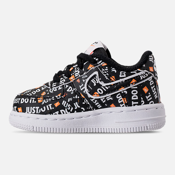 Left view of Boys' Toddler Nike Air Force 1 JDI Premium Casual Shoes in Black/Total Orange/White