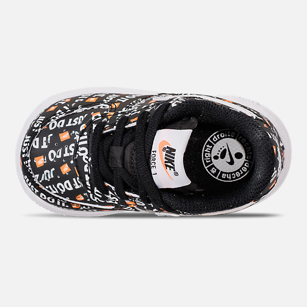 Top view of Boys' Toddler Nike Air Force 1 JDI Premium Casual Shoes in Black/Total Orange/White