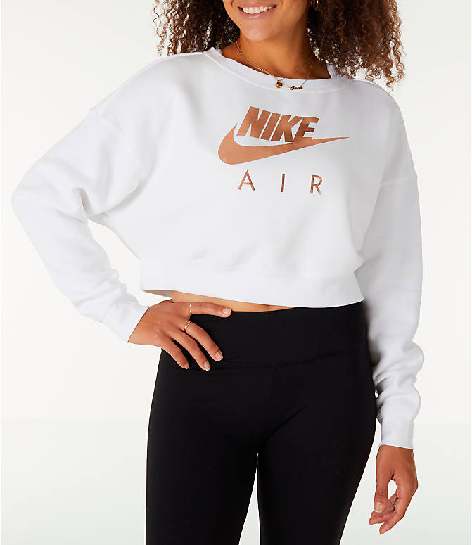 Front view of Women's Nike Sportswear Rally Crew Sweatshirt in White/Rose Gold