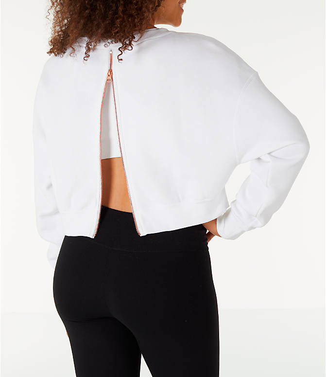 Back Right view of Women's Nike Sportswear Rally Crew Sweatshirt in White/Rose Gold