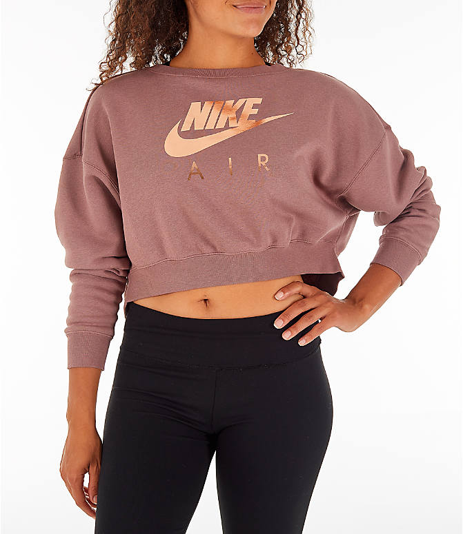 Front view of Women's Nike Sportswear Rally Crew Sweatshirt in Smoky Mauve/Rose Gold