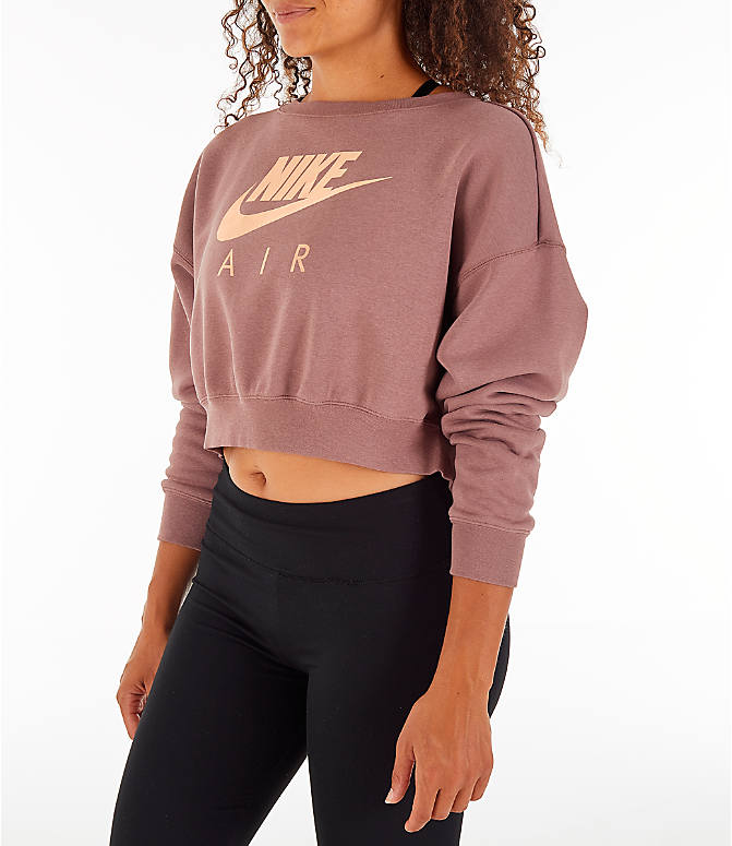 Front Three Quarter view of Women's Nike Sportswear Rally Crew Sweatshirt in Smoky Mauve/Rose Gold