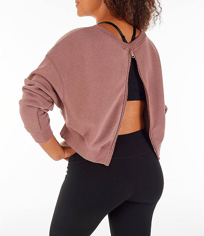 Back Left view of Women's Nike Sportswear Rally Crew Sweatshirt in Smoky Mauve/Rose Gold