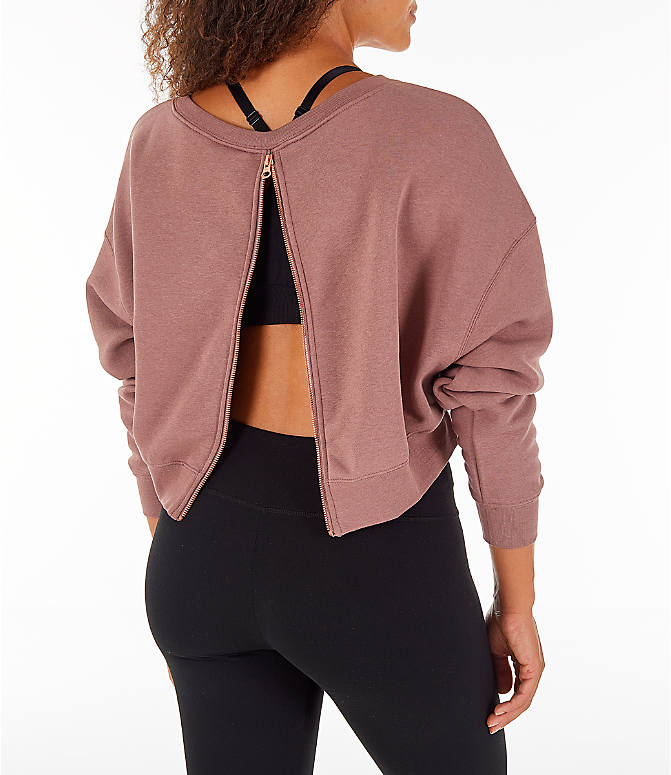 Back Right view of Women's Nike Sportswear Rally Crew Sweatshirt in Smoky Mauve/Rose Gold