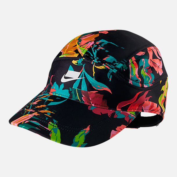 Front view of Nike Sportswear Tailwind Floral Adjustable Back Hat in Black