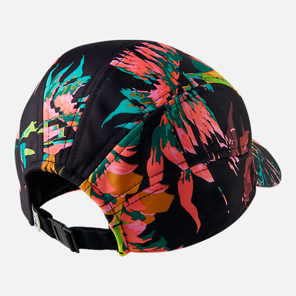 Back view of Nike Sportswear Tailwind Floral Adjustable Back Hat in Black