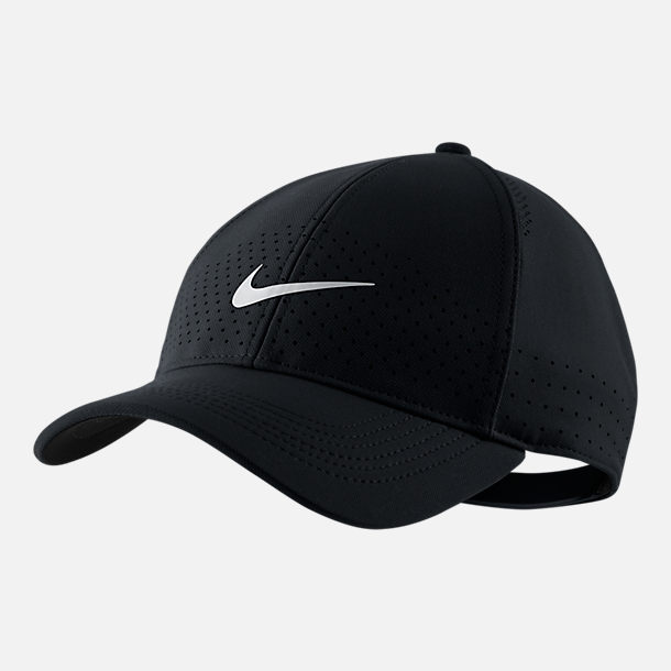Front view of Nike AeroBill Legacy91 Snapback Hat in Black/White
