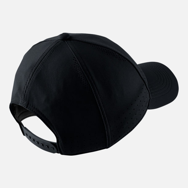 Back view of Nike AeroBill Legacy91 Snapback Hat in Black/White
