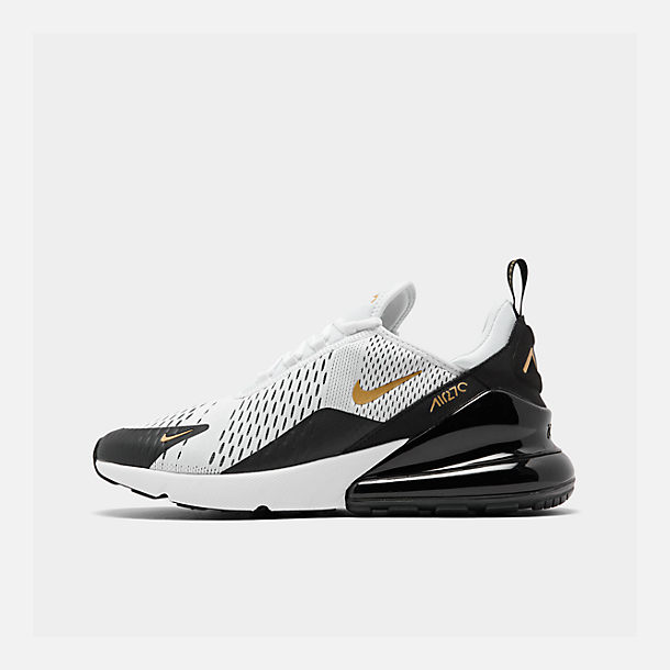 Right view of Men's Nike Air Max 270 Casual Shoes in White/Metallic Gold/Black