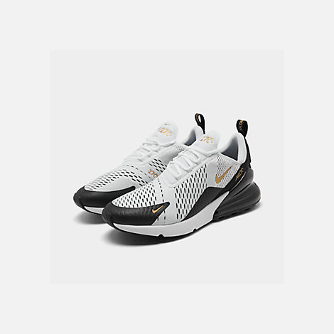 Three Quarter view of Men's Nike Air Max 270 Casual Shoes in White/Metallic Gold/Black
