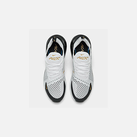 Back view of Men's Nike Air Max 270 Casual Shoes in White/Metallic Gold/Black