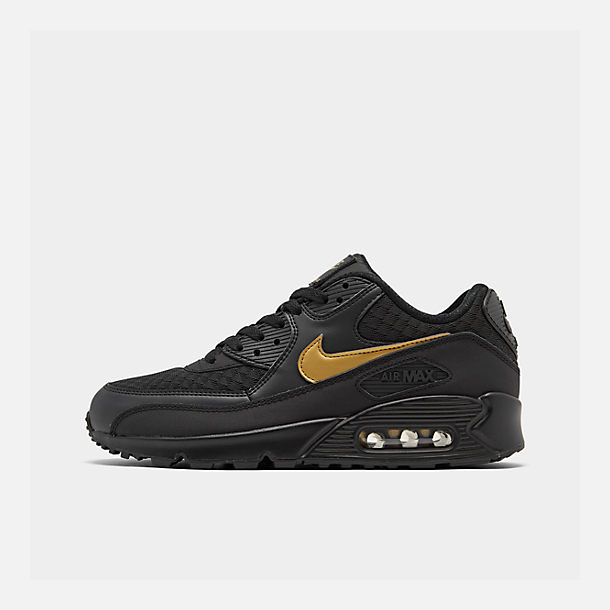 outlet store b3329 d1ff8 Right view of Men s Nike Air Max 90 Essential Casual Shoes in Black Metallic  Gold