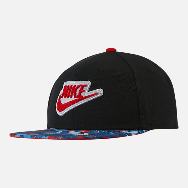 12ca16a77cc Front view of Kids  Nike Pro Hoopfly Adjustable Back Hat in Black Habanero  Red