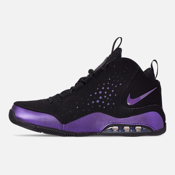 Left view of Men's Nike Air Max Wavy Basketball Shoes in Eggplant/Black/Black