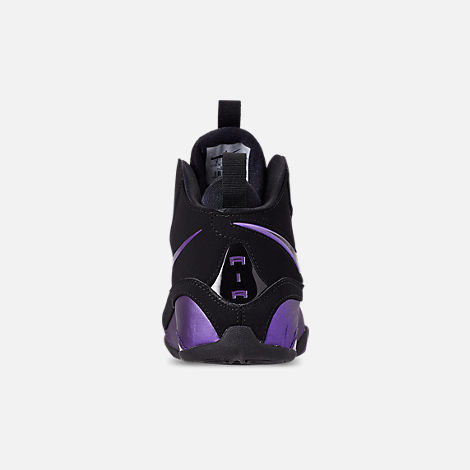 Back view of Men's Nike Air Max Wavy Basketball Shoes in Eggplant/Black/Black