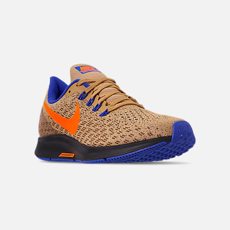 Three Quarter view of Men's Nike Zoom Pegasus 35 MWB Running Shoes in Club Gold/Total Orange/Racer Blue
