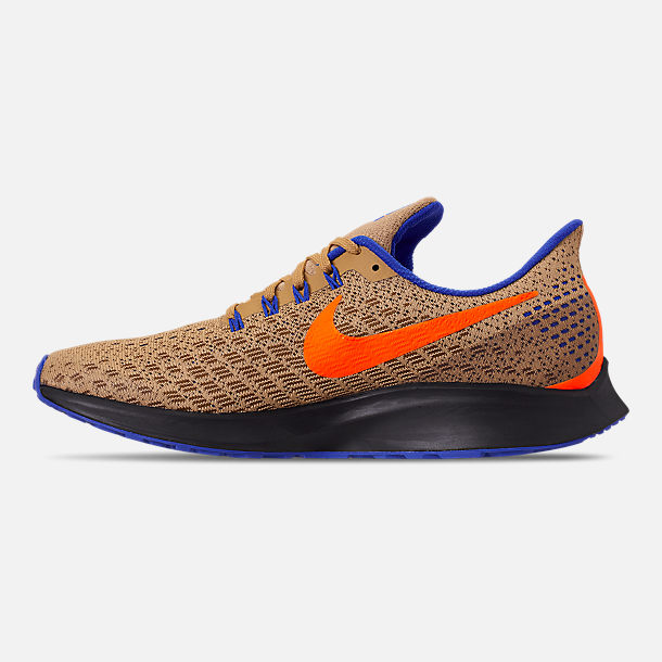 Left view of Men's Nike Zoom Pegasus 35 MWB Running Shoes in Club Gold/Total Orange/Racer Blue