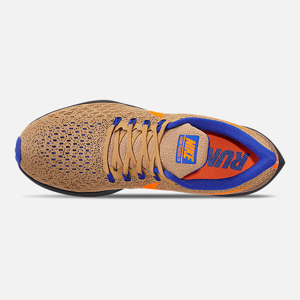 Top view of Men's Nike Zoom Pegasus 35 MWB Running Shoes in Club Gold/Total Orange/Racer Blue