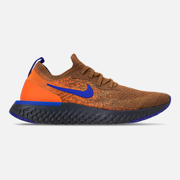 Right view of Men's Nike Epic React Flyknit MWB Running Shoes in Golden Beige/Racer Blue/Total Orange