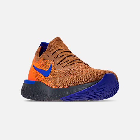 Three Quarter view of Men's Nike Epic React Flyknit MWB Running Shoes in Golden Beige/Racer Blue/Total Orange