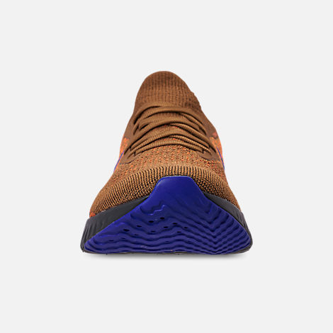 Front view of Men's Nike Epic React Flyknit MWB Running Shoes in Golden Beige/Racer Blue/Total Orange