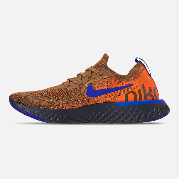 Left view of Men's Nike Epic React Flyknit MWB Running Shoes in Golden Beige/Racer Blue/Total Orange